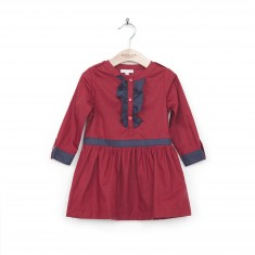 Ruffle front military dress